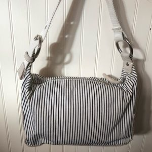 GAP canvas navy and white striped purse